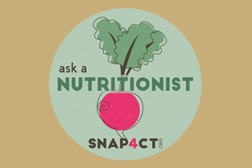 "SNAP4CT logo, radish image with ""Ask a Nutritionist"" text"