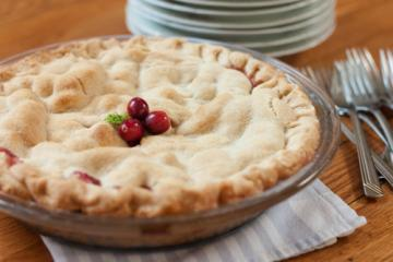 pie with cranberries on top
