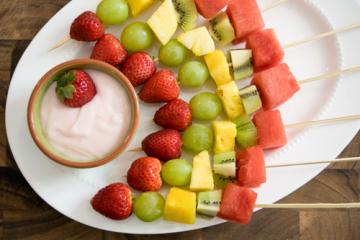 fruit kabobs on a plate