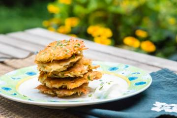 a small stack of latkes