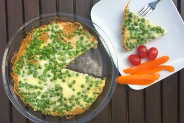 pasta frittata with peas