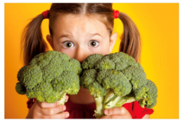 girl with broccoli