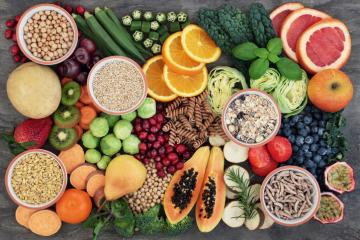 a variety of fruits, vegetables, and grains