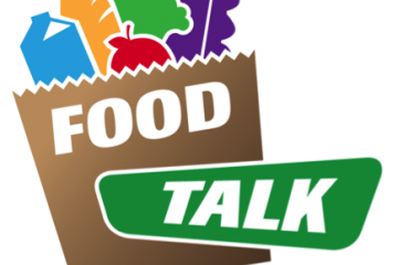 Food Talk Logo cartoon picture of a grocery bag with food