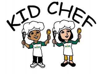 Kid Chef Logo with cartoon kids dressed up as chefs
