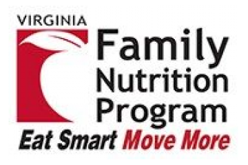 Program logo: Apple with text Virginia Family Nutrition Program: Eat Smart, Move More.