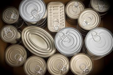 top down view of canned food.