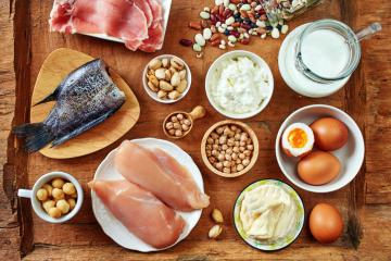 protein foods on a wooden background