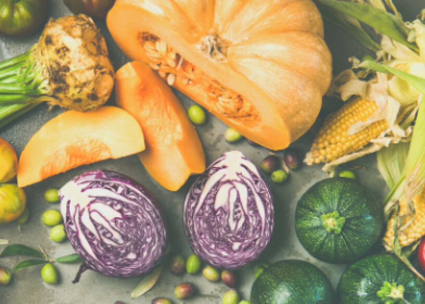 pumpkins, purple cabbage, corn and root vegetables