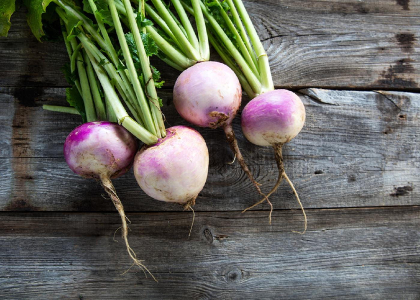 Turnips with green tops