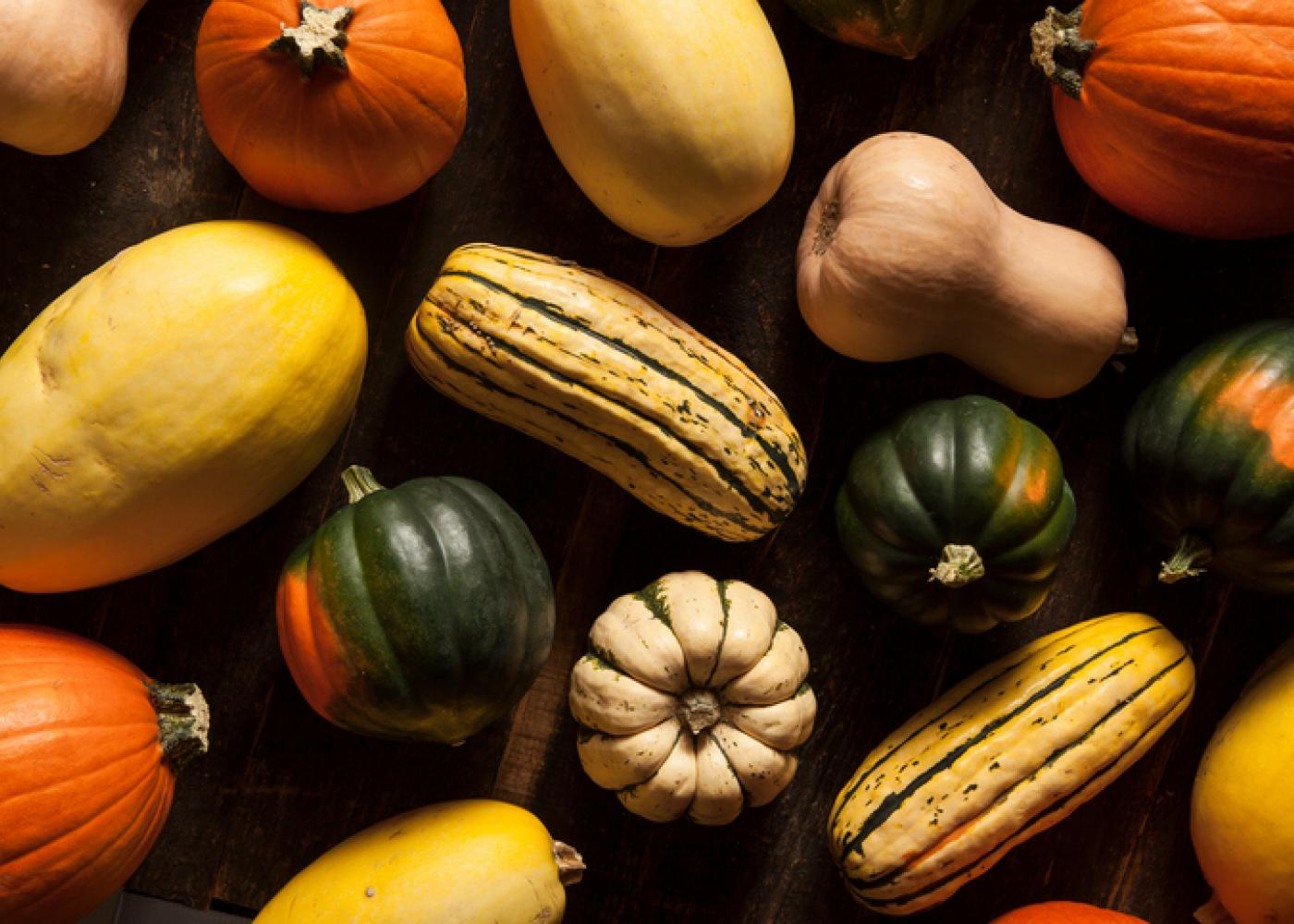 butternut squash, acorn squash, and other winter squash