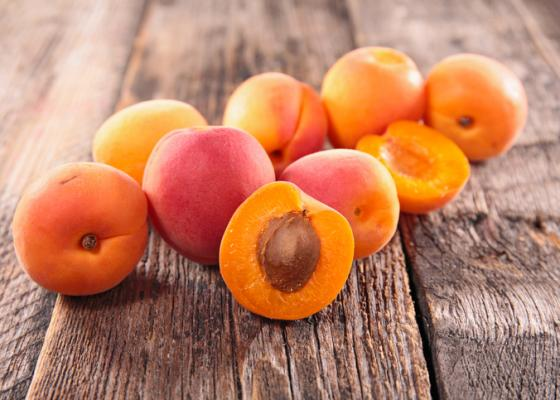 apricots on a wood table