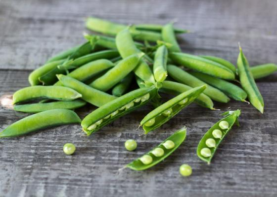 pea pods on a table