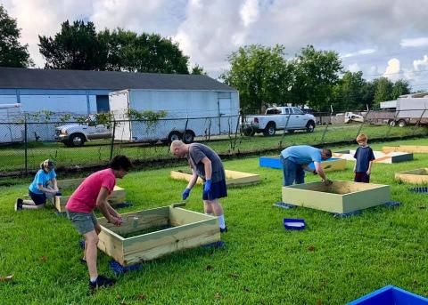 community gardening together