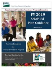 FY 2019 SNAP-Ed Plan Guidance cover, with people exercising and kids eating