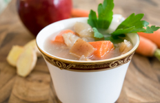apple carrot soup in a cup