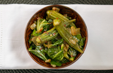 okra and greens in a bowl