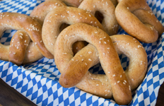 soft pretzels with a blue and white background