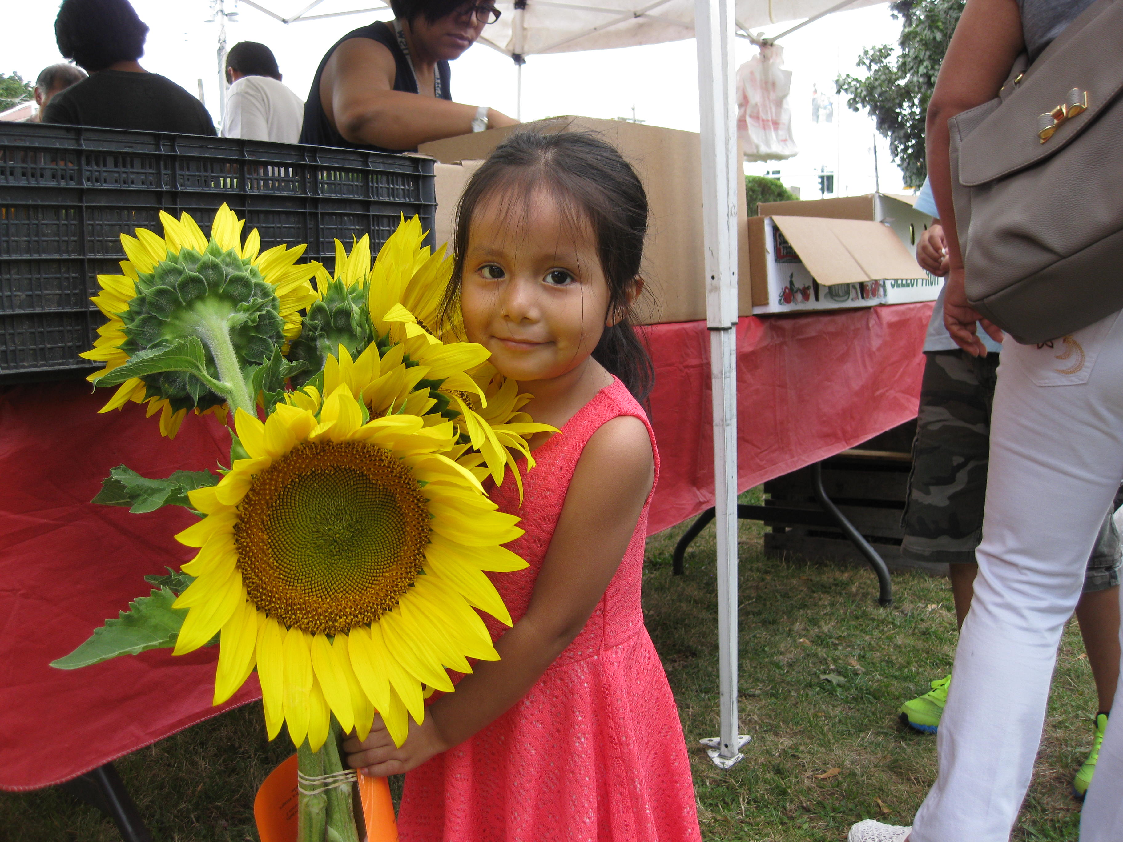 girl holding sunflowers at a market