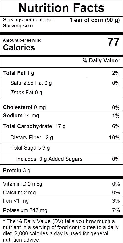 corn nutrition facts: cal 77, fat 1 g, sodium 14 mg, carbs 17 g, dietary fiber 2 g, sugars 3 g, protein 3 g, vit d 0%, vit c 10%, calcium 0%, iron 3%, potassium 7%