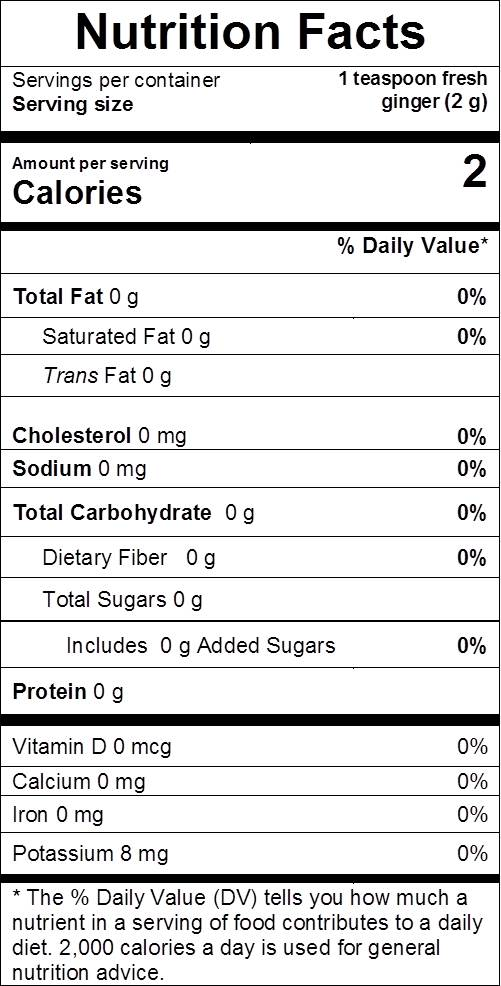 Ginger nutrition facts: cal 2, fat 0 g, sodium 0 mg, carbs 0 g, dietary fiber 0 g, sugars 0 g, protein 0 g, vit d 0%, calcium 0%, iron 0%, potassium 0%