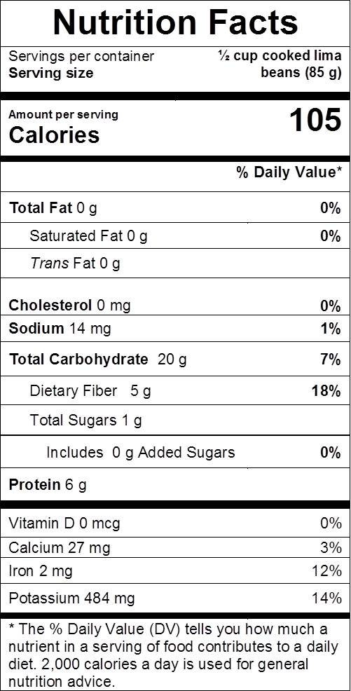 Lima Beans nutrition facts: cal 105, fat 0 g, sodium 14 mg, carbs 20 g, dietary fiber 5 g, sugars 1 g, protein 6 g, vit d 0%, calcium 3%, iron 12%, potassium 14%