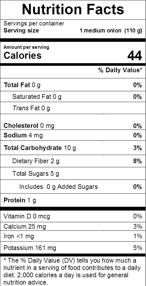 onion nutrition facts: cal 44, fat 0 g, sodium 4 mg, carbs 10 g, dietary fiber 2 g, sugars 5 g, protein 1 g, vit d 0%, calcium 4%, iron 3%, potassium 5%