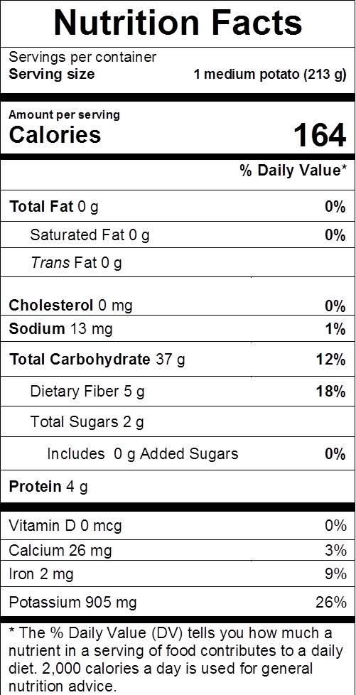 potato nutrition facts: cal 164, fat 0, sodium 13 mg, carbs 37 g, dietary fiber 5 g, sugars 2 g, protein 4 g, vit d 0%, calcium 3%, iron 9%, potassium 26%